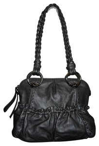 B. Makowsky Leather Hobo Tote Satchel in pewter
