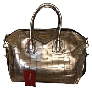 Charles Jourdan Croc Embossed Satchel in Gold Metal