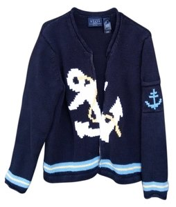 Crazy Horse by Liz Claiborne Cardigan Nautical Anchor Sweater