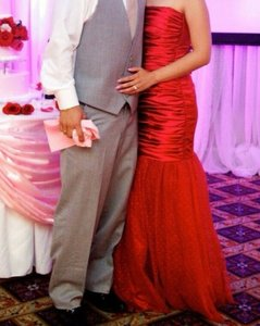 Red Satin with Ruffles Mermaid Formal Wedding Dress Size 6 (S)
