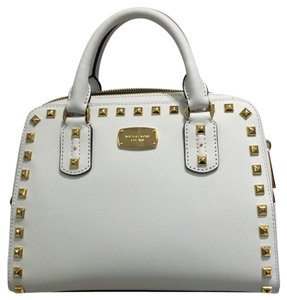 Michael Kors Small Studded White Leather Satchel in Optic White