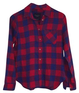 American Eagle Outfitters Button Down Shirt Blue and red