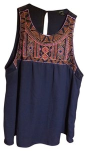 Forever 21 Embroidered Sleeveless Top Navy