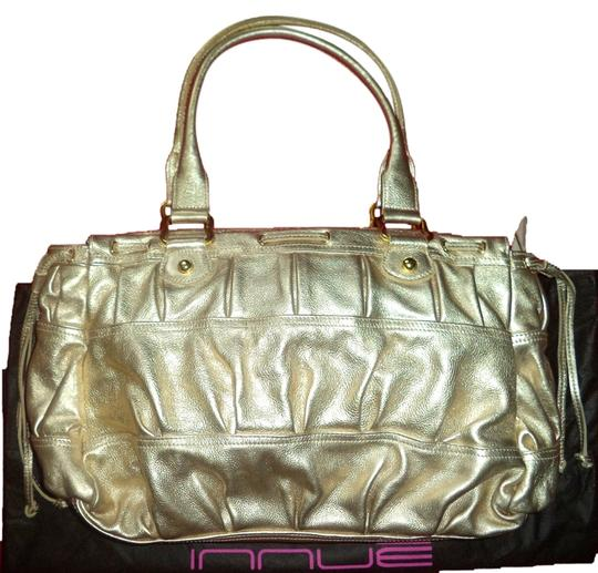 INNUE' Leather Hardware Made In Italy Pleated Studded Shoulder Bag
