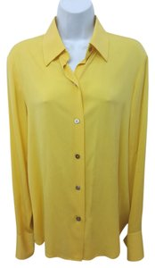 Ellen Tracy Linda Allard Button Down Shirt YELLOW