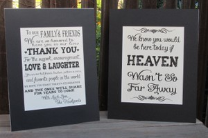 Set Of Rustic Signs For Your Upcoming Wedding. Memory Table Sign & Thank You From The Couple Sign