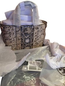35fd87f3bb94 Tory Burch Ella New  Bloomingdale s Exclusive Perforated Snake-embossed    Removable Pouch Beige Gray Snakeskin Leather Tote