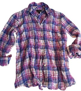 J.Crew Button Down Preppy Button Down Shirt Orchid plaid
