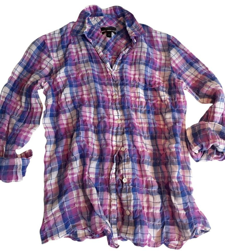 J crew orchid plaid crinkle boy shirt in button down shirt for Preppy button down shirts