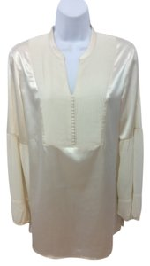 Chico's Beige Satin Top OFF-WHITE