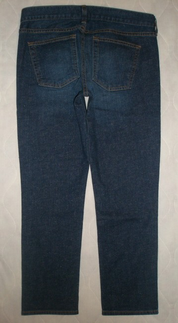 J.Crew Classic 5 Pocket Style *zip Fly *machine Washable *low Rise *can Be Worn Cuffed Or Uncuffed *cotton/Spandex *single Leg Capri/Cropped Denim-Dark Rinse Image 1