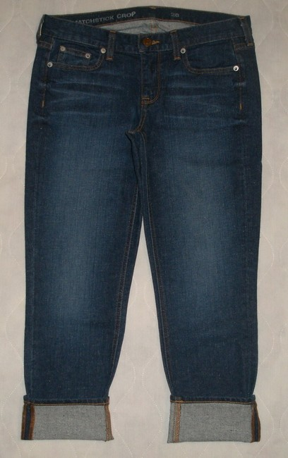 J.Crew Classic 5 Pocket Style *zip Fly *machine Washable *low Rise *can Be Worn Cuffed Or Uncuffed *cotton/Spandex *single Leg Capri/Cropped Denim-Dark Rinse Image 2