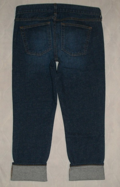 J.Crew Classic 5 Pocket Style *zip Fly *machine Washable *low Rise *can Be Worn Cuffed Or Uncuffed *cotton/Spandex *single Leg Capri/Cropped Denim-Dark Rinse Image 3