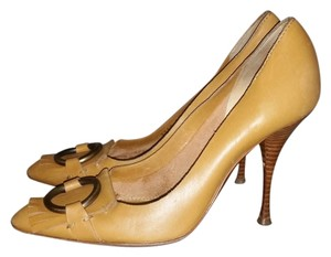 Saint Laurent Ysl Yves Oxford Heels Leather Ring Fringe Tan Pumps