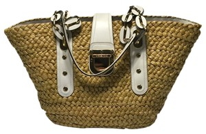 Michael Kors Santorini Summer Tote in Natural Straw/White