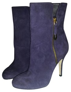 Joan & David & Ankle Suede Calfskin Leather Zipper Eggplant purple Boots