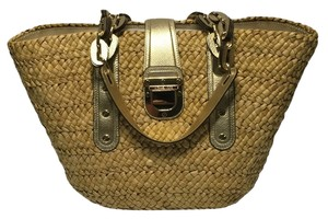 Michael Kors Santorini Summer Straw Tote in Natural Straw/Pale Gold