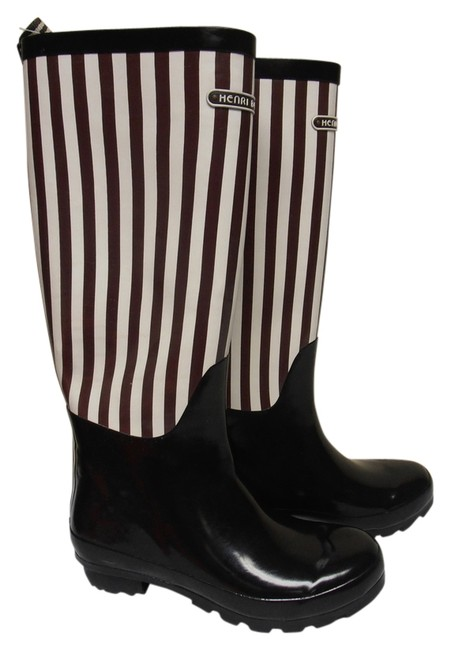 Item - Brown and White Classic Stripe Rainboot Boots/Booties Size US 8 Regular (M, B)