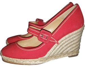 Christian Louboutin Mary Janes Espadrille Heel Mallorca red Wedges