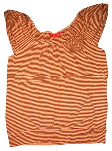 Elle Stripes Flowers Embellished Top Burnt Orange, Peach