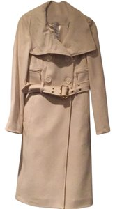 bebe Tea Length Wool Belted Trench Coat