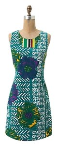 Anthropologie short dress Teal Multi Shift Nwt New With Tags on Tradesy
