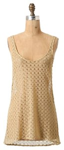 Anthropologie Papier Entangled Gleam Crochet Top Gold