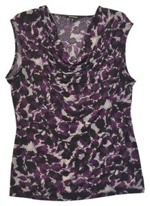 George Sleeveless Knit Work Professional Shell Business Pullover Polyester Spring Summer Print Leaves Top Purple/Grey/Black