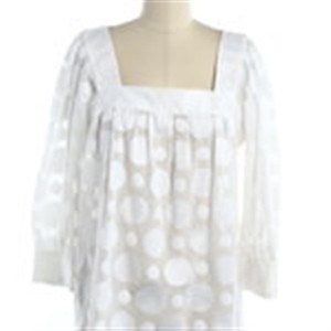 MILLY Dot Square Neck Top White