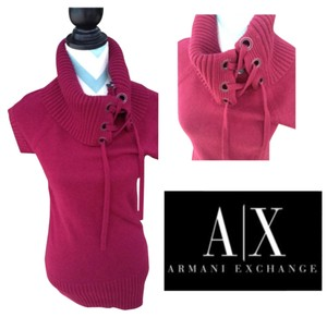A|X Armani Exchange Laceup Cowl Neck Fuschia Ribbed Sweater