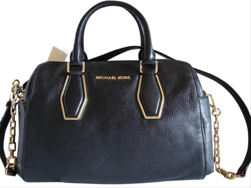 a88f66ac9ed3 Michael Kors Pebbled Leather Detachable Strap Medium Size Barrel Style  Satchel in Black Image 0 ...
