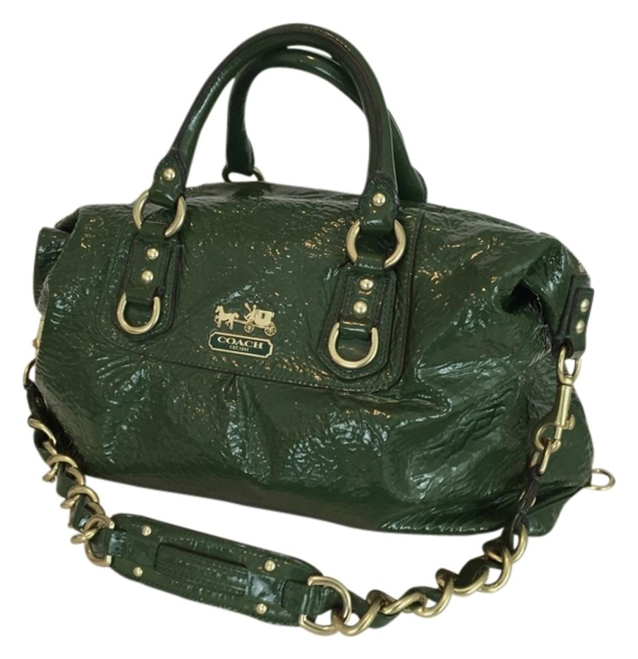 Coach Sabrina Large Madison Collection  12948 Green Patent Leather Satchel 8cc09f03176ba