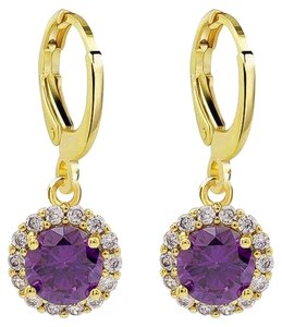 Eloise Classy Real 14k Gold Purple and white halo crystal dangle earrings