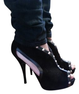 Dollhouse Peep Toe Studded Black Boots