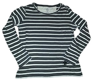 Tory Burch Cotton Striped T Shirt Black & white