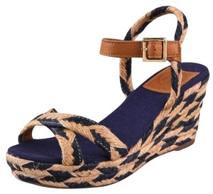 Tory Burch Wedge Jute Camelia Blue/Tan Sandals