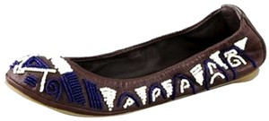 Tory Burch Beaded Eddie Brown Flats