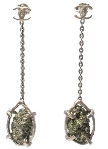 Chanel Chanel Rare Dull Gold CC Pyrite Dangle Piercing Earrings