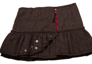 Free People Wool And Red Mini Skirt Gray