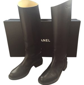 Chanel Leather Riding Black Boots