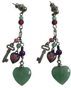 Romantic Artisan Heart/Key, Jade, Handpainted Earrings