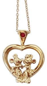 Disney New Disney Mickey & Minnie Mouse Gold Heart Necklace