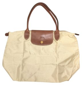 Longchamp 'Small Le Pliage' Shoulder Bag Satchel in Beige