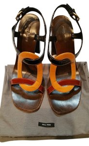 Miu Miu Chunky Block Heel Brown Black Yellow Patent Leather Sandals