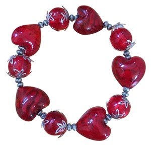 Other Red Glass Hearts and Balls Bracelet