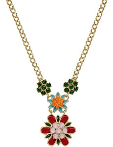 Kate Spade Kate Spade New York Gold-Plated Multicolored Flower Pendant Necklace
