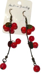 New Dangle Cherries Earrings Red Antiqued Gold 3 in. Long J1939