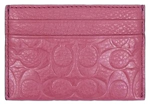 Coach Coach Signature Embossed Pebbled Leather Card Case F63357 Sunset Red