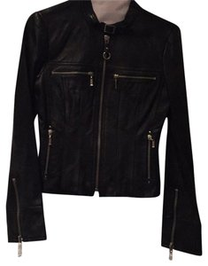 bebe Leather Cropped Moto Black with silver zippers Leather Jacket