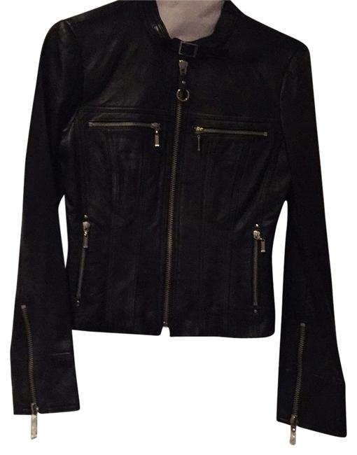 Item - Black with Silver Zippers Hardware Moto Jacket Size 0 (XS)
